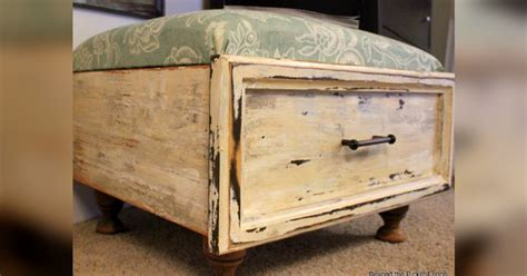 upcycle ottoman furniture upcycle drawer transformed to ottoman