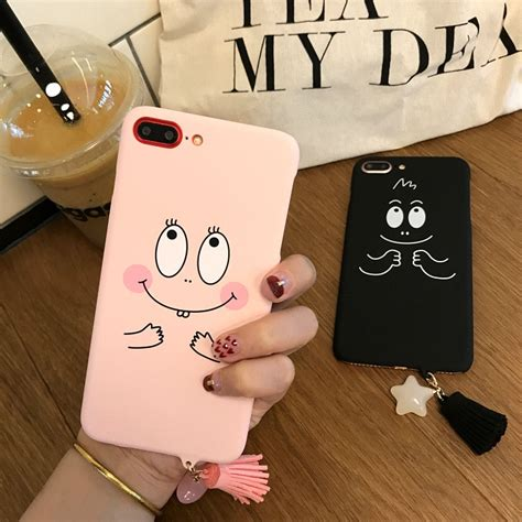 szyhome phone cases  iphone     cover case black pink cute smiling frosted touch