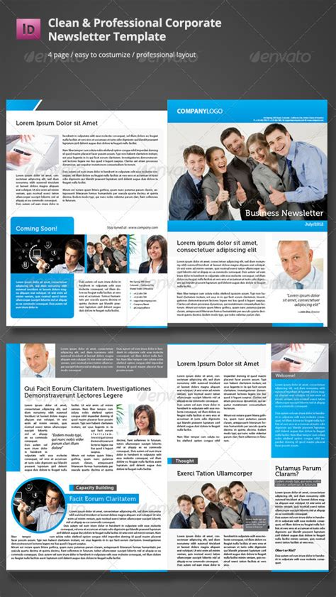 professional newsletter templates clean corporate newsletter template graphicriver