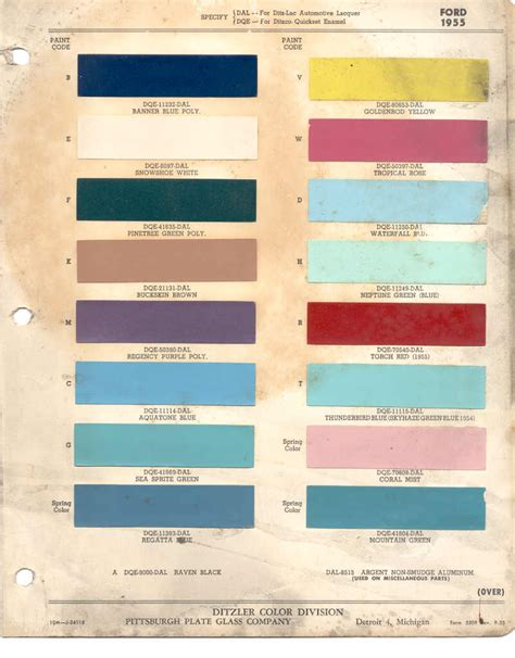 paint chips 1955 ford fairlane lincoln mercury thunderbird