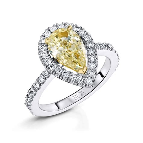 platinum pear yellow ring 2 54cts rox