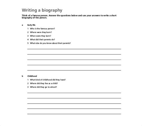 design biography exle biography exle year 3 biography template 20 free word pdf