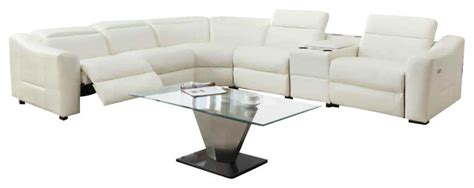 white leather reclining sectional sofa homelegance instrumental reclining sectional in white