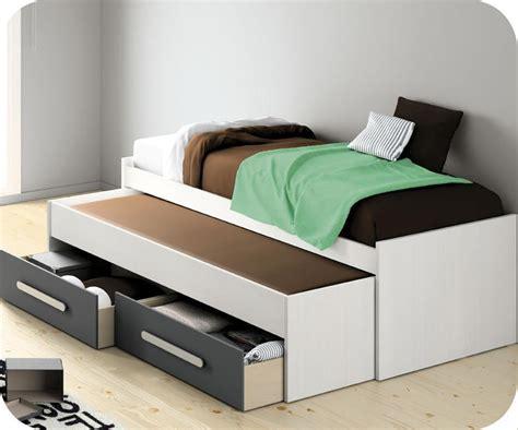 cama nido juvenil  blanca  cajones grises
