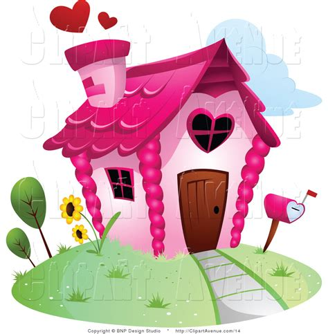 avenue clipart of a pink home with a chimney by