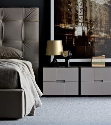 Bedside tables with 2 drawers, modern linear, for bedrooms
