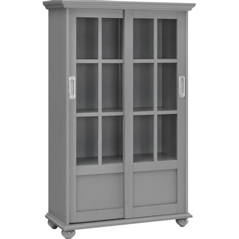 4 Shelf Glass Door Bookcase In Soft Gray 9448296pcom Glass Door Shelf