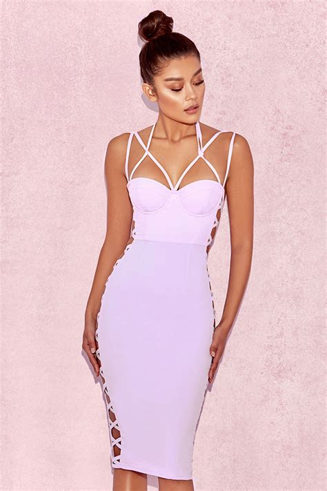Zazkia Dress clothing bodycon dresses saskia lilac detail dress