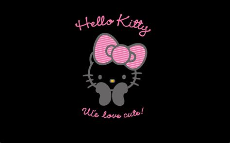 wallpaper hitam hello kitty pink and black hello kitty backgrounds wallpaper cave