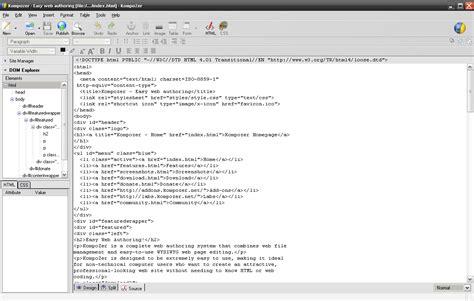 kompozer web design html editor kompozer screenshots
