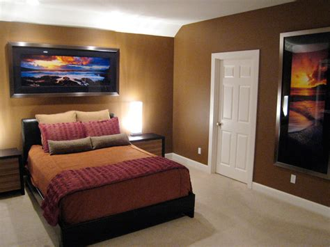 brown contemporary bedroom with sunset hgtv