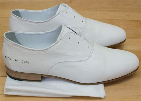 common projects white lace less oxford dress shoes size 44 new in box