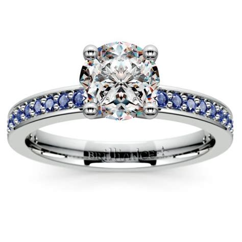 pave sapphire gemstone engagement ring in platinum