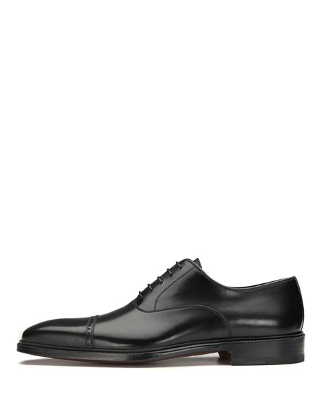 neiman shoes neiman cap toe leather oxford shoe in black for