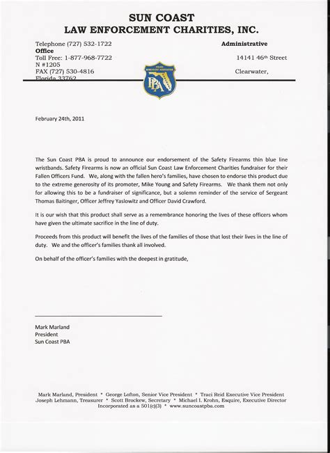 Enforcement Thank You Letter Thin Blue Line Charity Wrist Armor Safetyfirearms