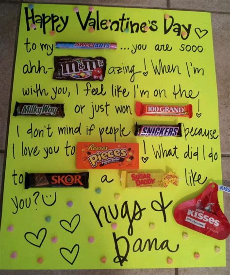 cute ideas for valentines day for him adorable candy board card cute ideas for boyfriend pinterest