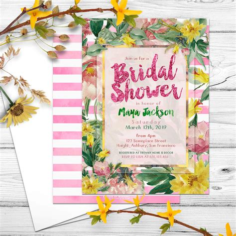 nature themed bridal shower invitations nature floral bridal shower invitation lemon leaf prints