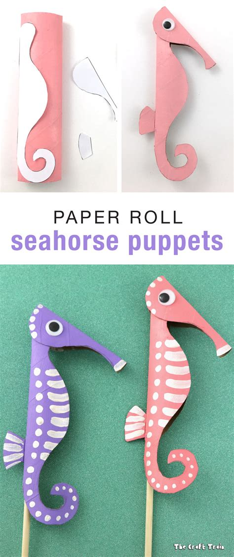 How To Make A Seahorse Out Of Paper - paper roll seahorse puppets the craft