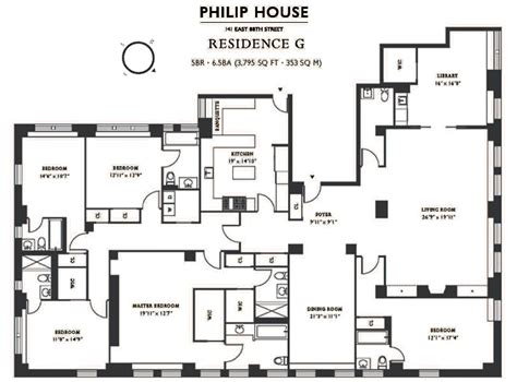5 Bedroom Apartment Floor Plans | philip house 141 east 88th street carnegie hill condos