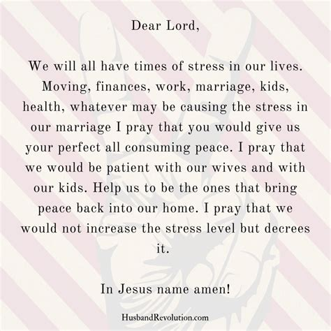 prayer peace in times of stress husband