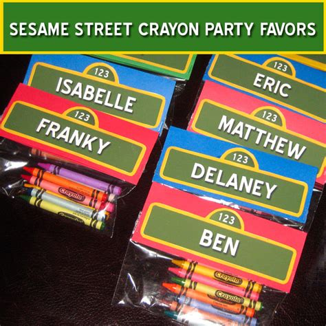 sesame street crayon party favors  sisters