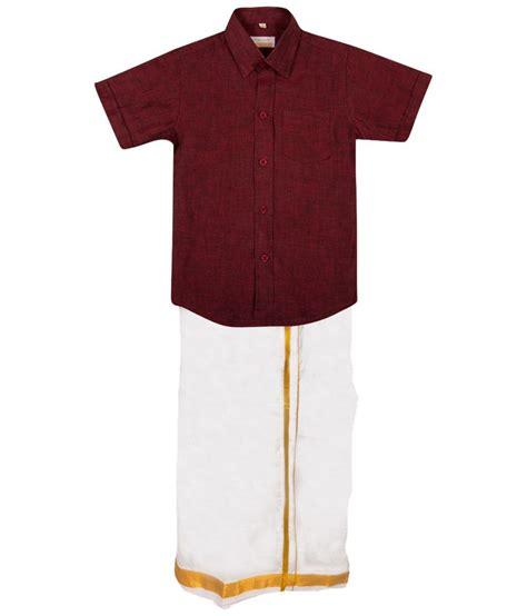 thangamagan maroon white shirt n dhoti set for boys