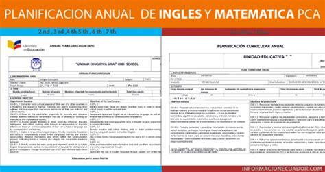 planificacion anual primer grado de primaria 2016 planificaciones anuales de ingles y matematica pca