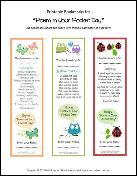 printable poetry bookmarks 7 poem in your pocket day ideas and a printable poem