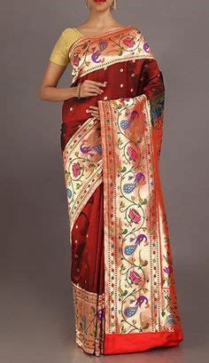 Nanda Maroon nanda rich hues designer peacock border pallu real zari paithani silk saree pattu paithani
