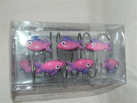 tropical fish shower curtain hooks purple fish shower curtain bath hooks set of 12 resin kids