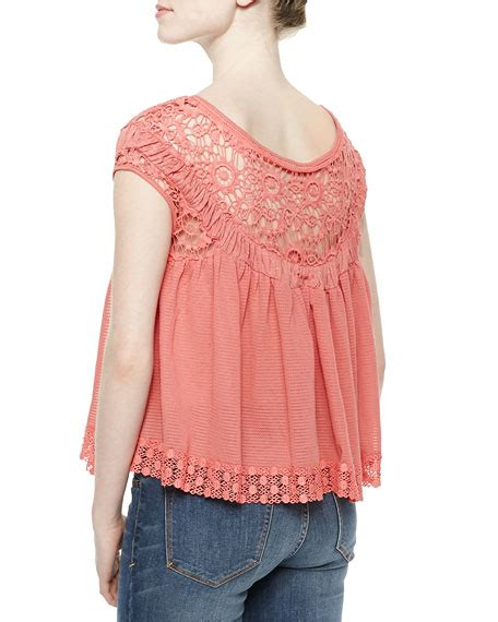 Shoulder Embroidery Top free the shoulder top with cutwork embroidery