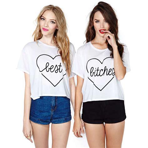 shirt new pattern 2014 best bitches heart pattern print white t shirt short