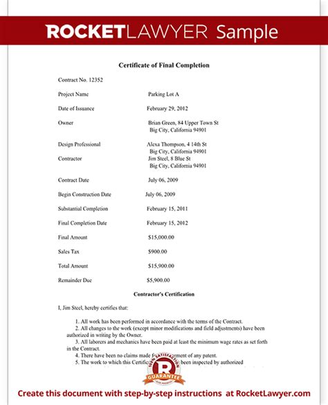 Insurance Letter Of Completion Certificate Of Completion Form For Construction Project