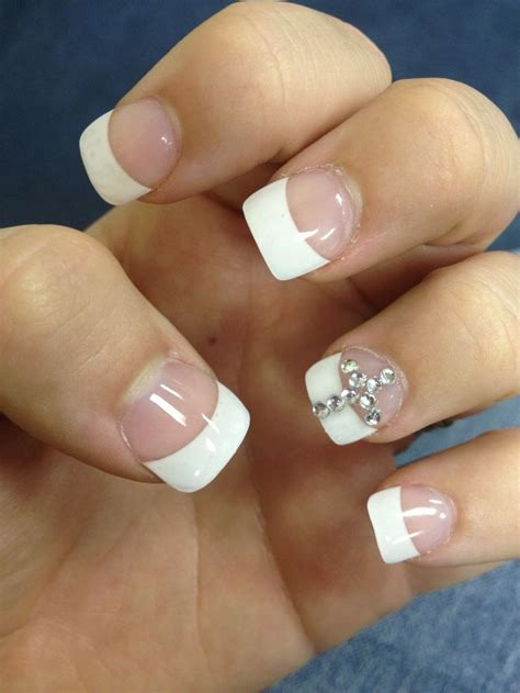acrylic paint nail tips acrylic nails with rhinestone cross hair makeuppp nails
