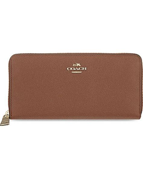Coach Accordion Zip Wallet F13677 coach accordion leather zip wallet in brown li saddle lyst