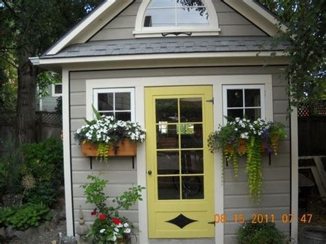 Yellow Shed Paint by Amazing Shed With Yellow Door Garden Potting Sheds