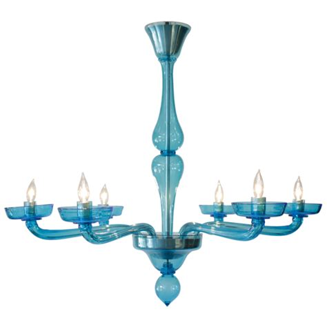 Blue Glass Chandelier Cerulean Blue Murano Glass Chandelier