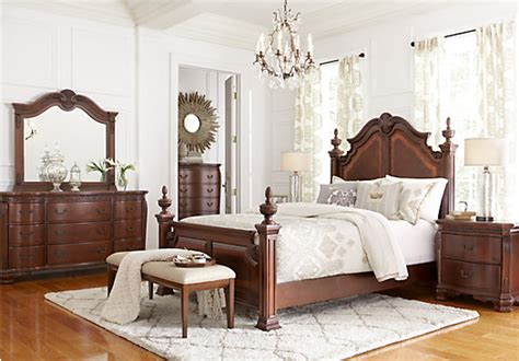 king post bedroom set cortinella cherry 5 pc king poster bedroom bedroom sets