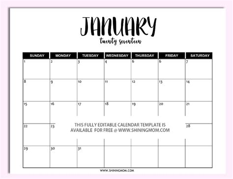 Free Printable Fully Editable 2017 Calendar Templates In Monthly Calendar Template Microsoft Word