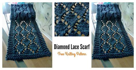 diamond pattern scarf knitting easy diamond lace scarf free knitting pattern