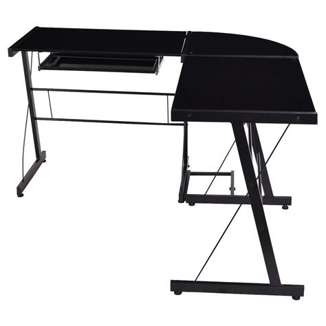 Corner Desk Table Top L Shape Computer Desk Pc Laptop Table Glass Top
