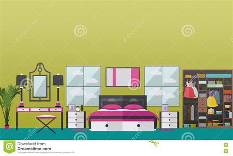home design elements bedroom interior flat vector illustration vector