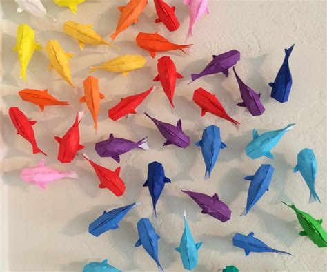 Cool Paper Folding Projects - wall of rainbow koi 7 steps with pictures