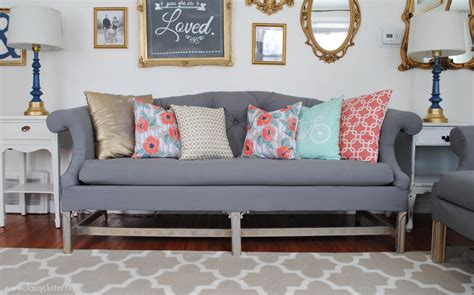 diy tufted couch how to reupholster a sofa