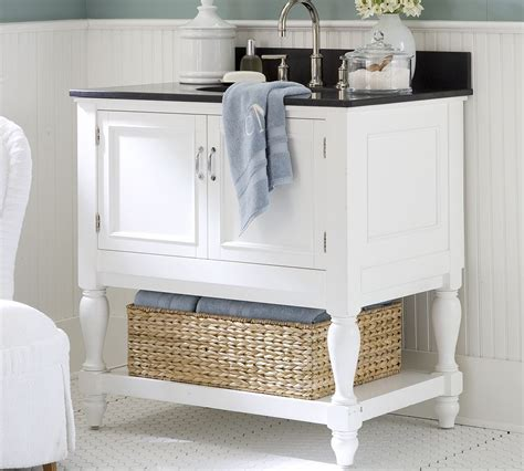 likeable white wooden bahtroom vanity storage with rattan
