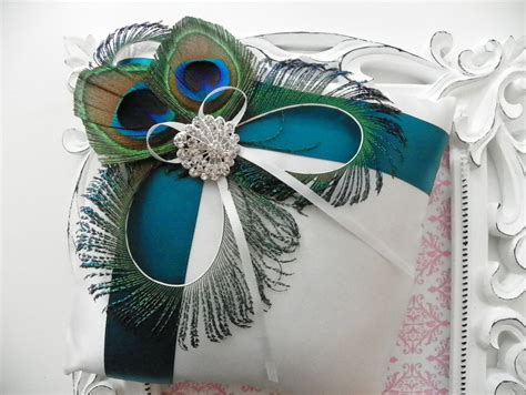 peacock turquoise ring bearer pillow wedding ideas