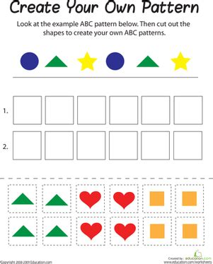 pattern making worksheets kindergarten abc pattern worksheet education com