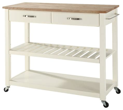 contemporary kitchen carts and islands natural wood top kitchen cart in white finish