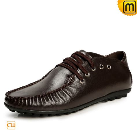 lace up leather driving shoes for cw740083