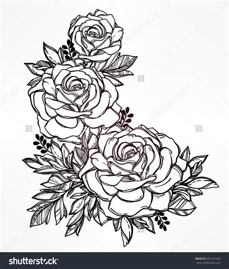 vintage flower tattoo designs line pencil and in color